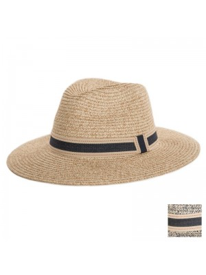 Ladies Straw Fedora Hat With Ribbon Band - Assorted Colours