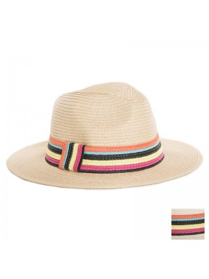 Ladies Straw Fedora Hat with Striped Band - Assorted Colours
