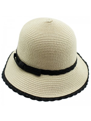 Ladies Straw Hat With Black Trim