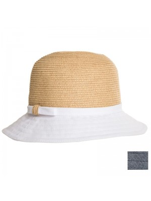 Ladies Luxury Straw Hat with Coloured Brim - Assorted Colours