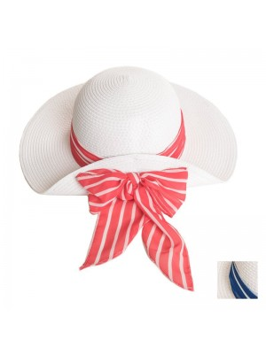 Ladies Straw Hat With Striped Coloured Scarf Band - Assorted Colours