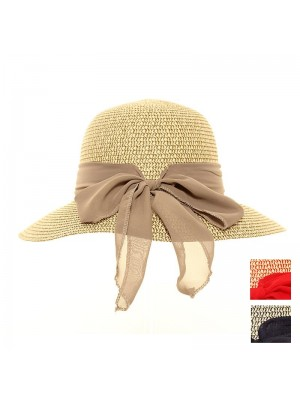 Ladies Straw Short Brim Hat With Bow - Assorted Colours