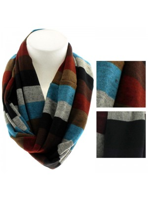 Ladies Striped Snood Assorted Colours