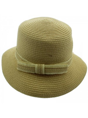 Ladies Sun Hat with Bow - Cream