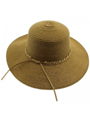 Ladies Tan colour Straw Hat With Beige Chain Lace