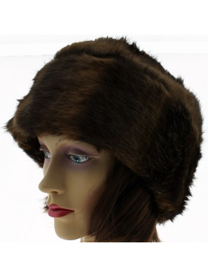 Ladies Turn up Fur Hat with Quilted Lining - Two Tone Brown & Black