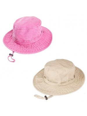 Wholesale Ladies Washed Aussie Style Sun Hat - Asst. Colour & Sizes
