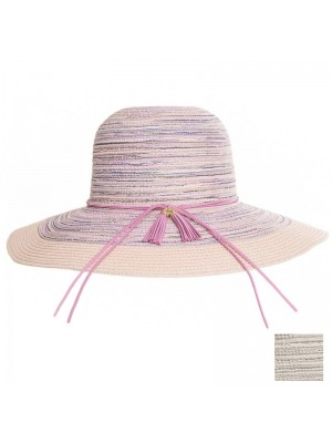 Ladies Wide Brim Straw Hat with Tassel Band - Assorted Colours