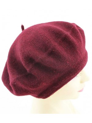 Wholesale Ladies Wool Beret Hat - Burgundy