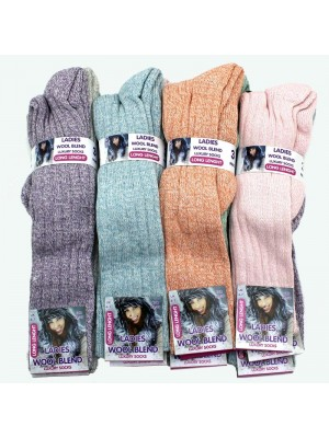 Ladies Wool Blend Long Length Luxury Socks - Assorted Colours