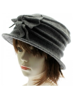 Ladies Wool Cloche Hats with Bow - Grey