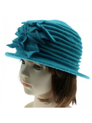 Ladies Wool Cloche Hats with Flower and Leaves - Blue