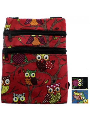 Ladies' Owl Pad Bag - Assorted Colours (12cm x 15cm)