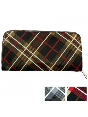 Ladies' Tartan Zip Purse - Assorted Colours (20cm x 10cm)