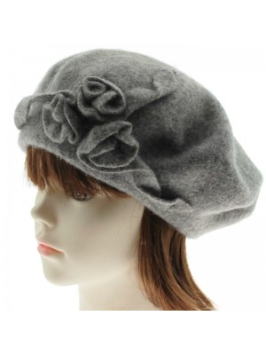 Ladies' Wool Beret With Flower - Grey