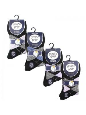 Ladies Argyle Design Cotton Blend Socks - Gentle Grip (3 Pair Pack) - Asst