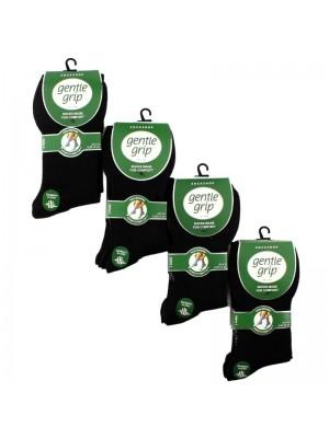 Ladies Bamboo Blend Socks - Gentle Grip (3 Pair Pack) - Black