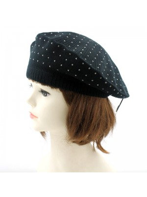 Ladies Beret With Diamante Detail - Black