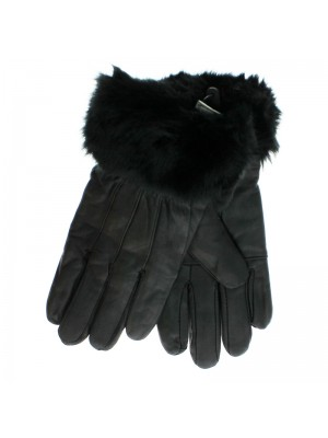 Ladies Black Leather Gloves With Fur