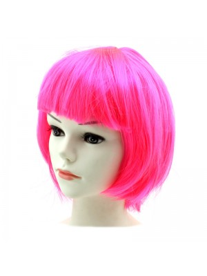 Ladies Bob Wigs - Hot Pink