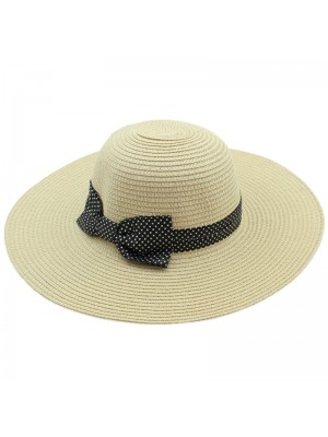 Ladies Bow Design with Polka Dots Straw Hat