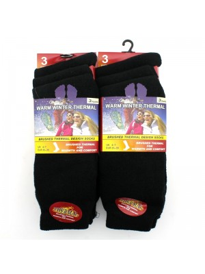 Ladies Brushed Warm Winter Thermal Socks - Black (4-7)