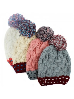 Ladies Chunky Knit Bobble Hat - Assorted Colours