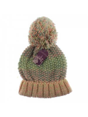 Ladies' Chunky Knit Bobble Hat (Multi-Colour)