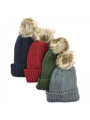 Ladies Chunky Knit Pom-Pom Fashion Hat - Assorted Colours