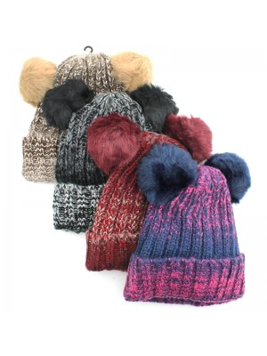 Ladies Chunky Knit Pom-Pom Hat - Assorted Colours