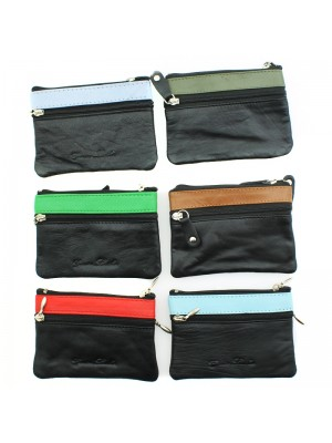 Ladies Coin Purse with Stripe - Assorted Colours