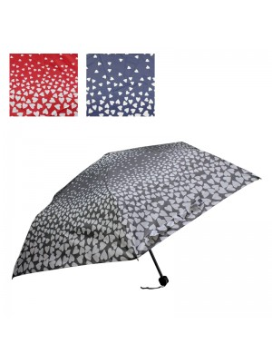 Ladies' Compact Umbrellas (Heart Patterns) - Assorted Designs