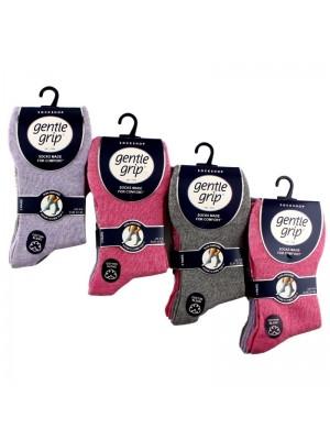 Ladies Cotton Blend Socks - Gentle Grip (3 Pair Pack) - Asst