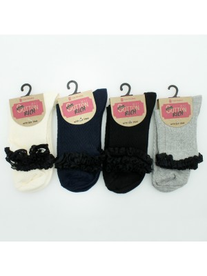 Ladies Cotton Rich Lace Trim Socks - Assorted Colours