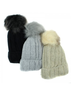 Ladies Detachable Fur Lined Knitted Bobble Hat - Assorted Colours