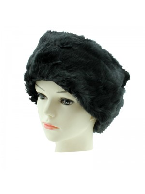 Ladies Elasticated Fur Headbands - Black