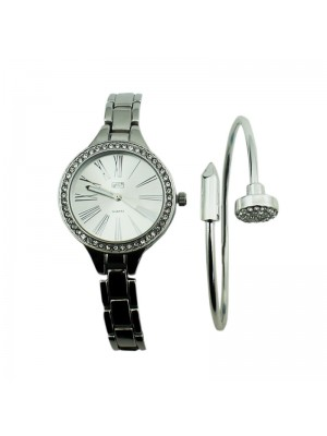 Ladies Eton 3 Dial Design Watch & Bracelet - Chrome