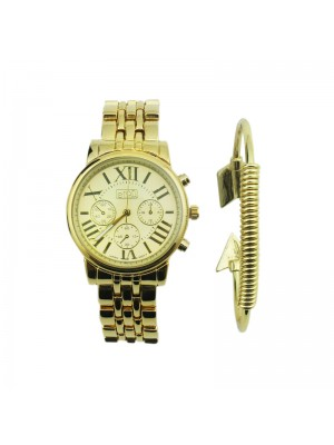 Ladies Eton Round Dial Design Bracelet Watch - Gold