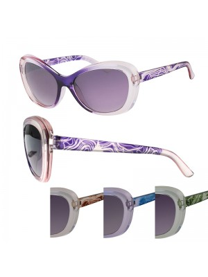 Ladies' Fashion Sunglasses - Abstract Designed Frame (Assorted Colours)
