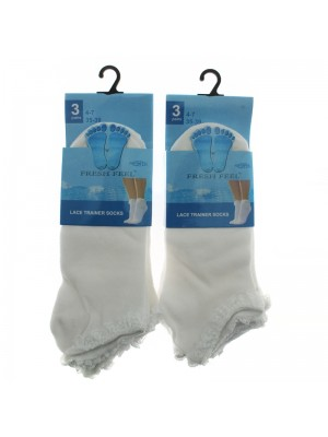 Ladies Fresh Feel Lace Trainer Socks - White (4-7)