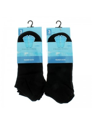 Ladies' Fresh Feel Trainer Socks (4-6) - Black