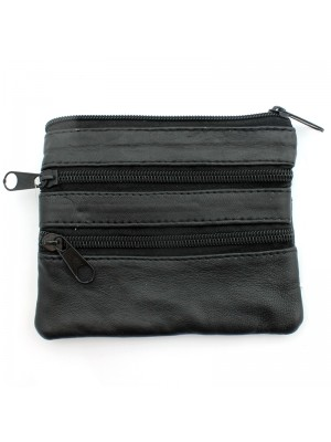 Ladies Genuine Leather Coin Purse - Black