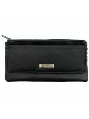 Ladies Genuine Leather Compact Purse - Black