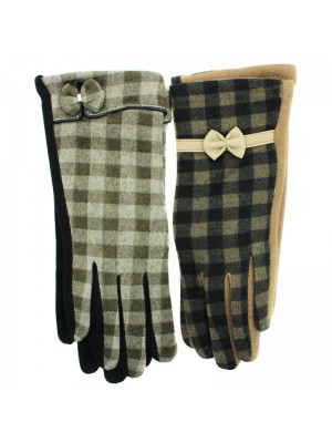 Ladies Gingham Check Gloves with Bow -  Asst. Colours