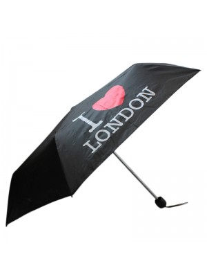 Ladies I Love London Compact Umbrella - Black