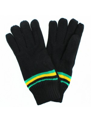 Ladies Jamaica Design Knitted Gloves - Black