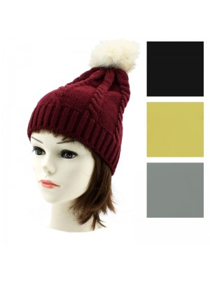 Ladies' Knitted Beanie Fur Bobble Hat - Assorted Colours