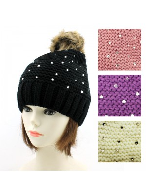 Ladies' Knitted Beanie Hat With Beads - Assorted Colours