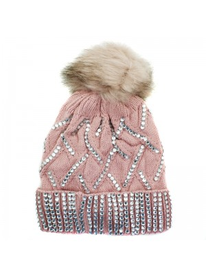 Ladies Knitted Bobble Hat with Fur Lining - Baby Pink