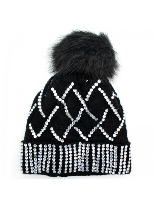 Ladies Knitted Bobble Hat with Fur Lining - Black